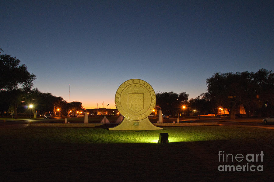 Texas Tech University Seal At Sundown Second Image Photograph by Mae Wertz