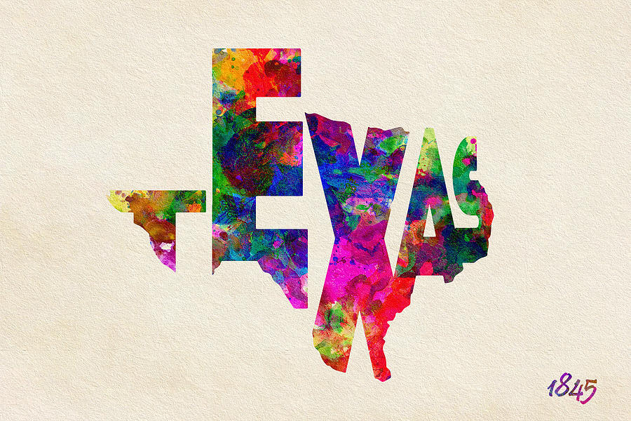 Texas Painting - Texas Typographic Watercolor Flag by Inspirowl Design