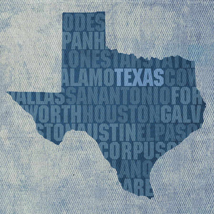 Texas Word Art State Map On Canvas Mixed Media by Design Turnpike