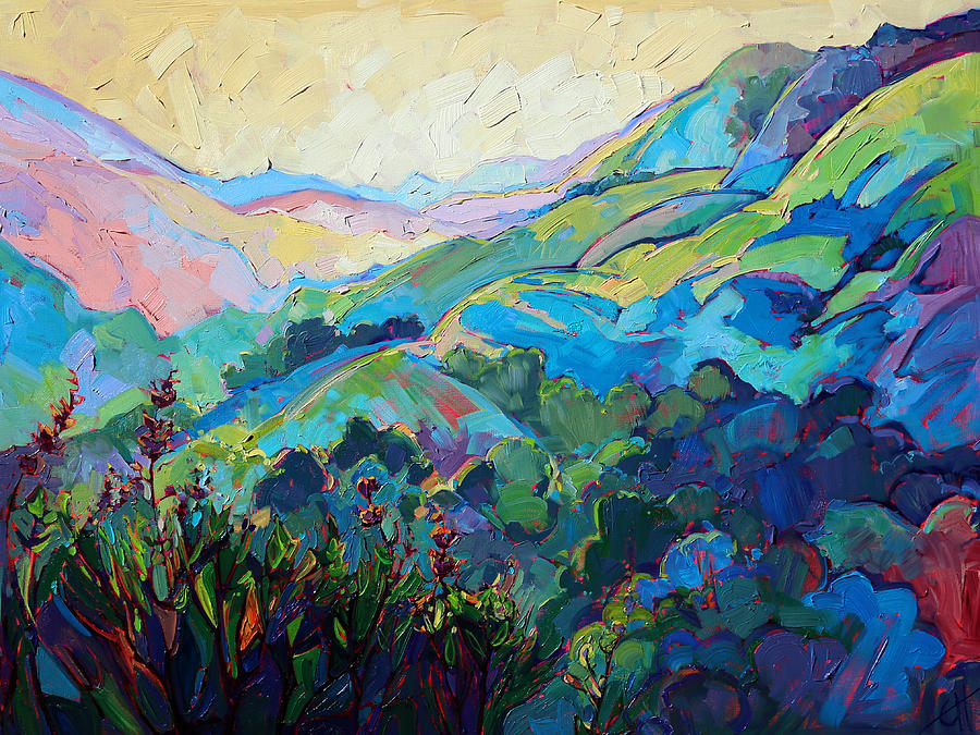 California Hills Painting - Textured Light by Erin Hanson
