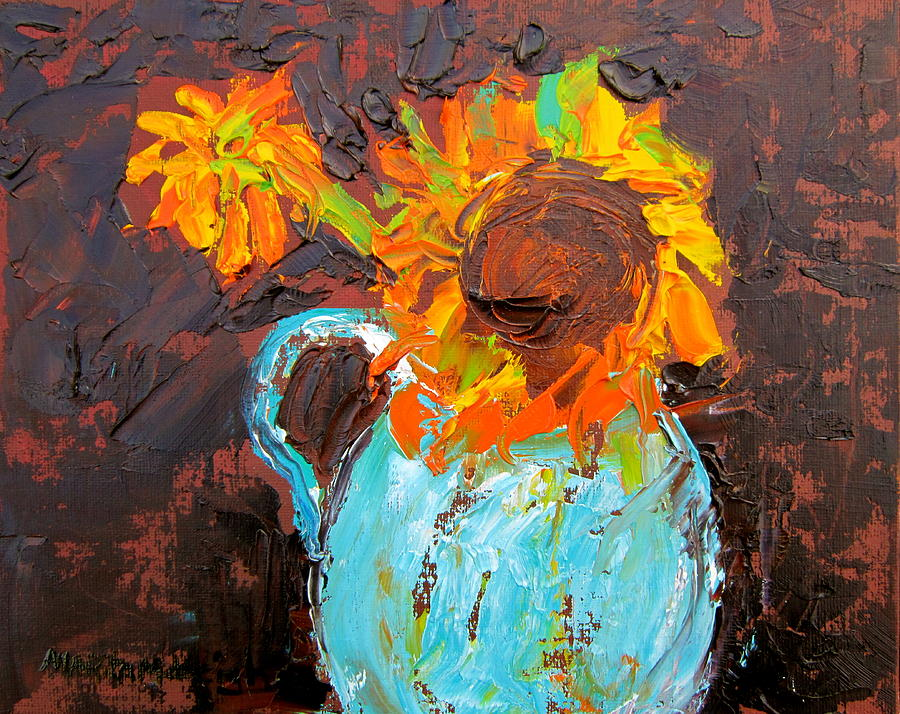 Palette Knife Painting - Textured Sunflowers by Marita McVeigh