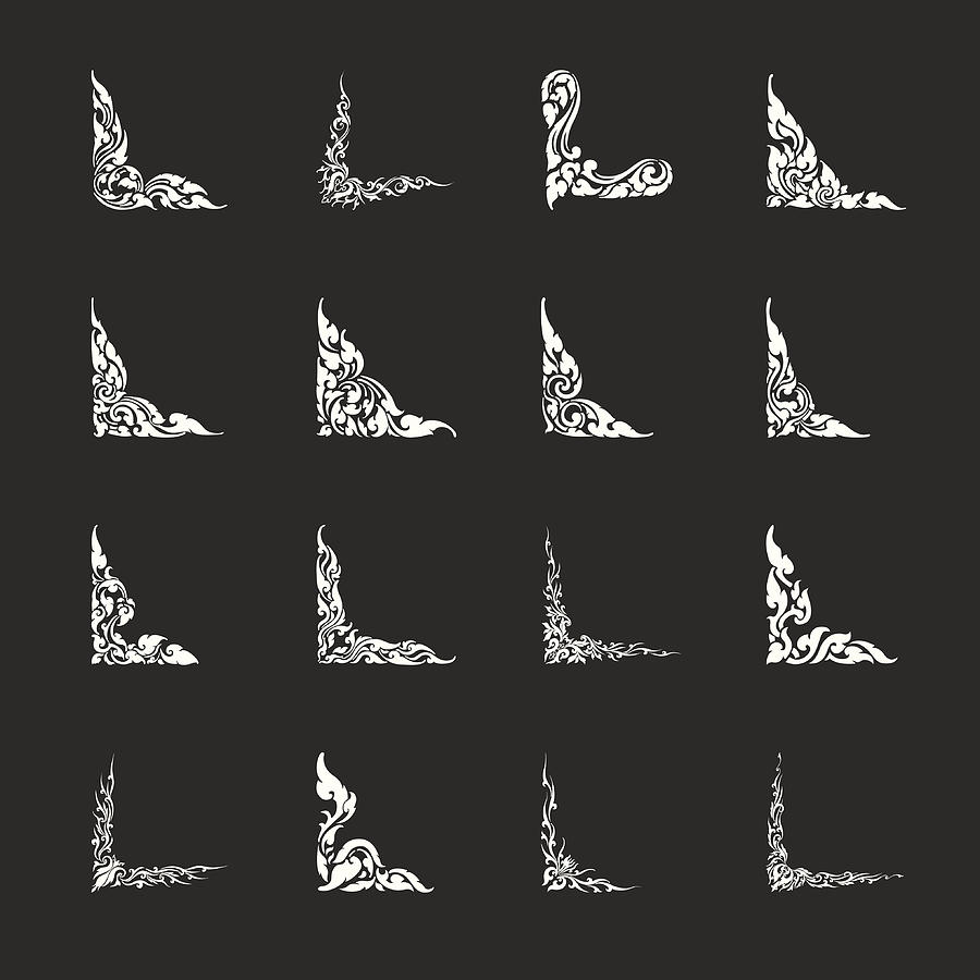 Thai Design Motifs Set 2 - White Series Drawing by Rakdee