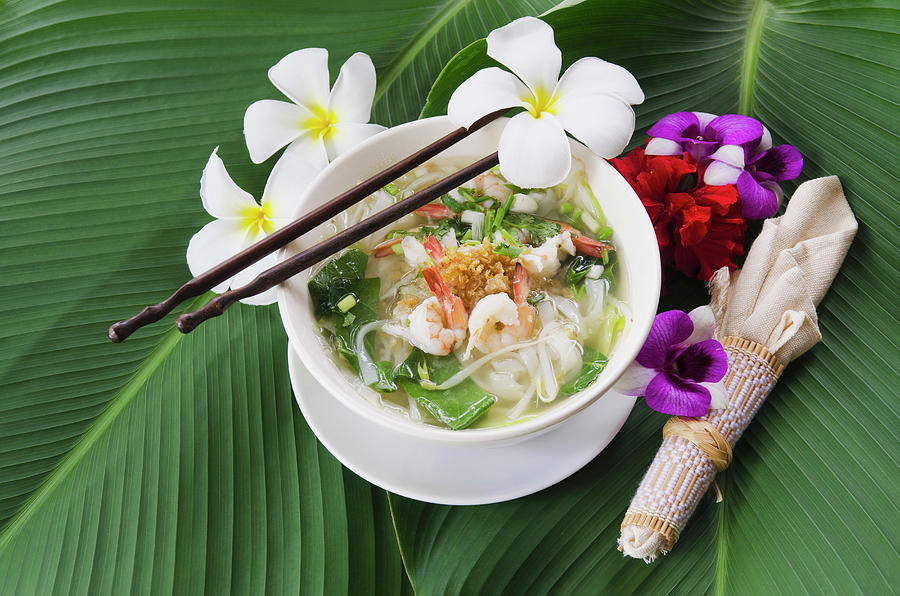 Thai Noodle Soup With Shrimps Photograph by Otto Stadler