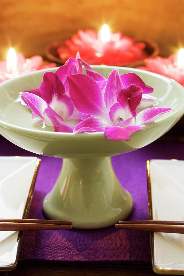 Water Bowl Decoration Fascinating Thai Table Decoration Orchids In Bowl Of Water Candles Design Inspiration