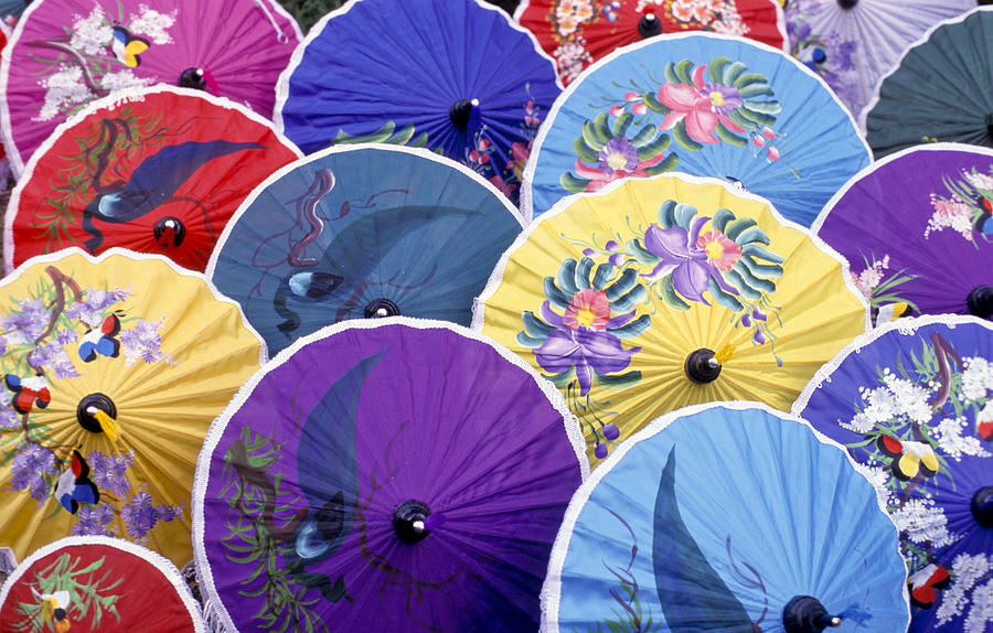 No People; Horizontal; Outdoors; Day; Full Frame; Backgrounds; Large Group Of Objects; Traditional Culture; Pattern; Abundance; Thailand; Chiang Mai; Parasol; Colorful; Circle; Variation Photograph - Thailand. Chiang Mai Region. Umbrellas by Anonymous
