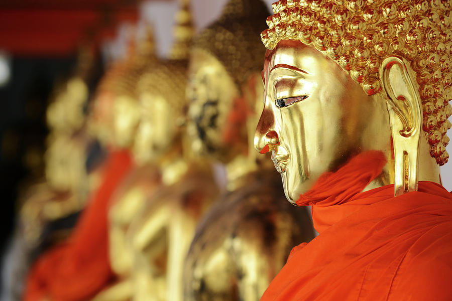 Thailand, Gold Buddha Statue At Wat Pho Photograph by Dangdumrong