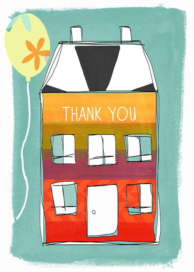 Card Painting - Thank You Card by Linda Woods