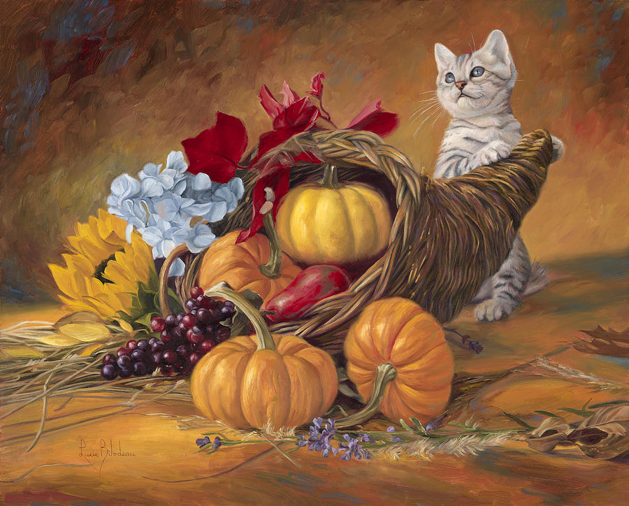 Cat Painting - Thankful by Lucie Bilodeau