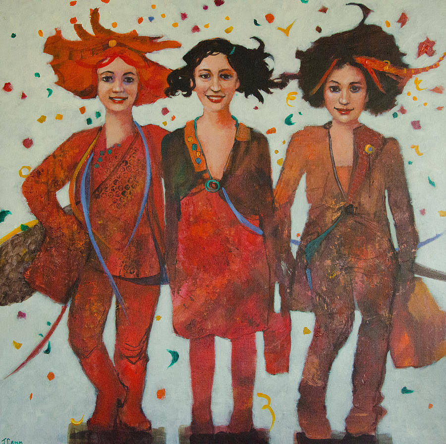 Girls Painting - That Friday Feeling by Jennifer Croom
