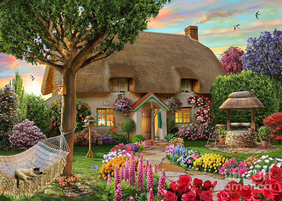 Thatched Cottage Digital Art - Thatched Cottage by Adrian Chesterman