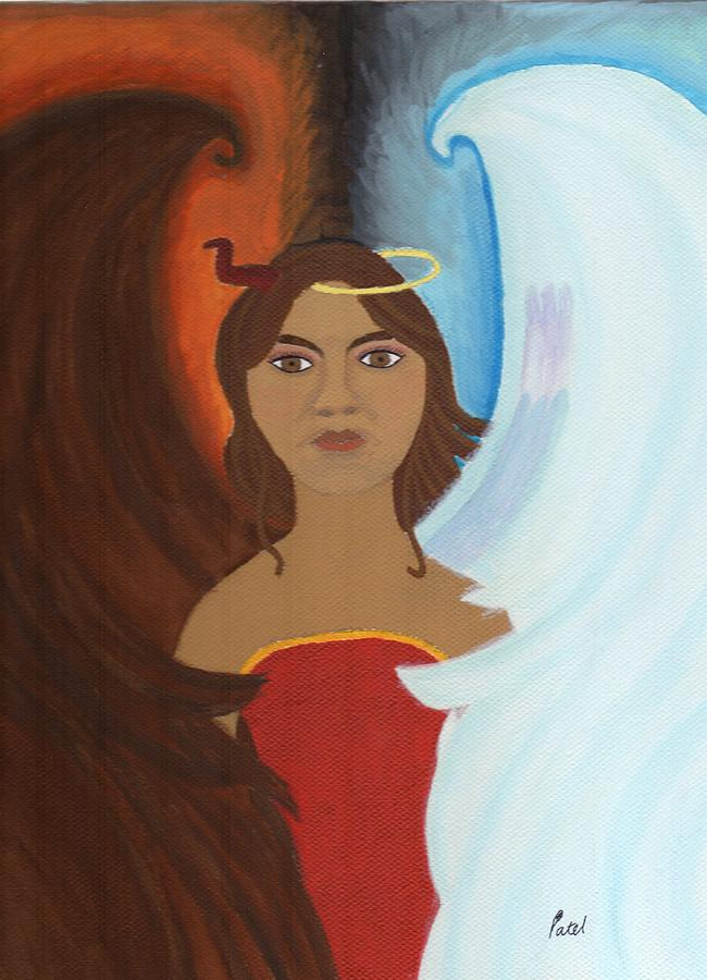 Angel Painting - The 2 Sides Of Me by Bav Patel