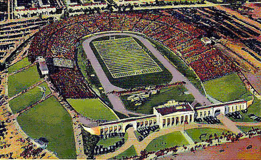 Football Stadiums Painting - The 33rd Street Stadium In Baltimore Md Around 1940 by Dwight Goss