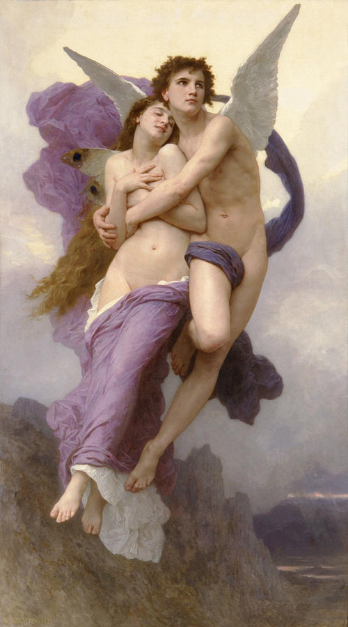 Cupid Painting - The Abduction Of Psyche by William Bouguereau