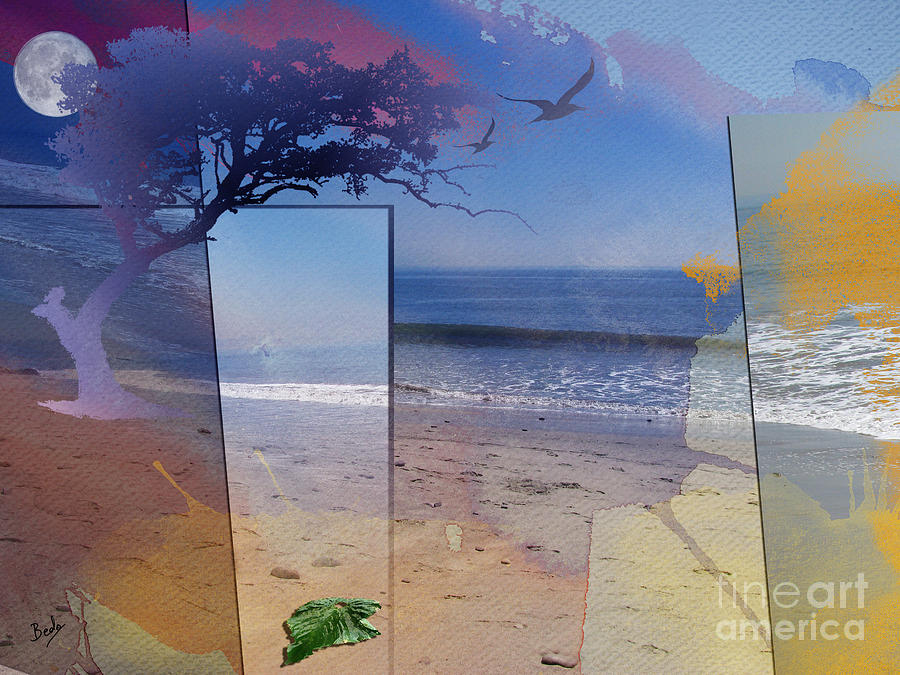 Abstract Digital Art - The Abstract Beach by Bedros Awak