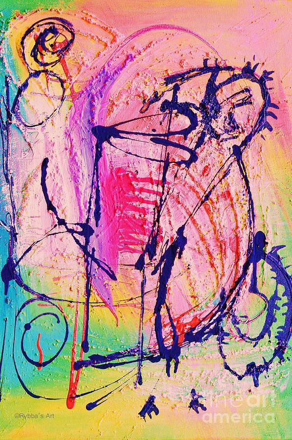 Two Figures Painting - The Abstract Music Makers by Ruth Yvonne Ash