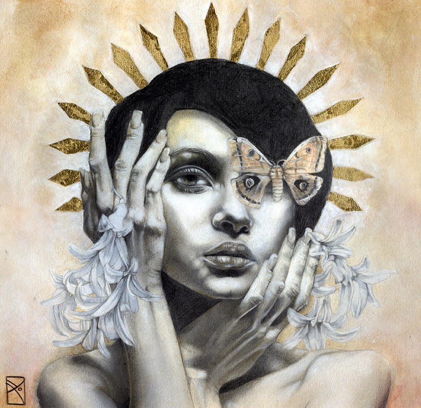 Portrait Mixed Media - The Abyss Gazes Back by Patricia Ariel