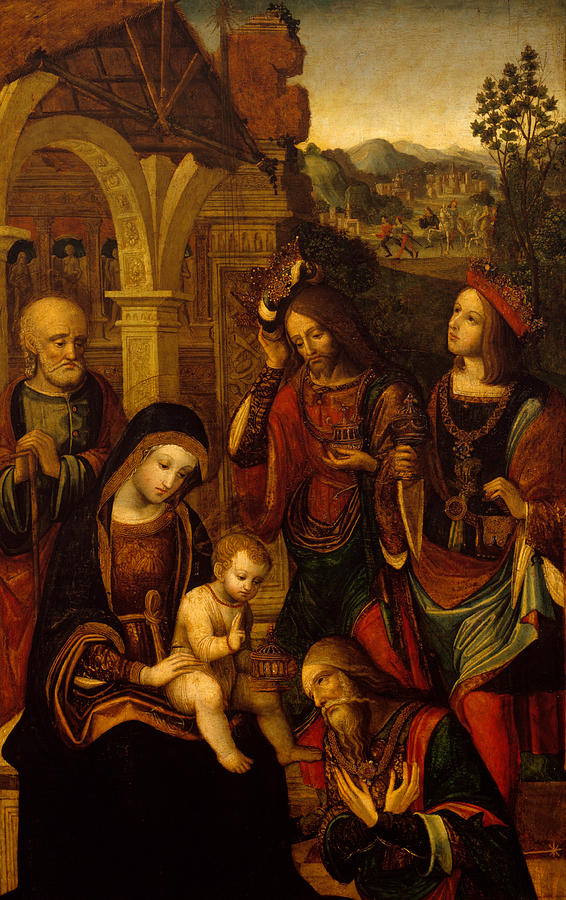 The Nativity Painting - The Adoration Of The Kings by Neapolitan School