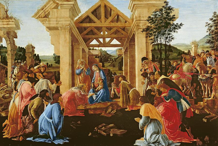 Nativity Painting - The Adoration Of The Magi by Sandro Botticelli