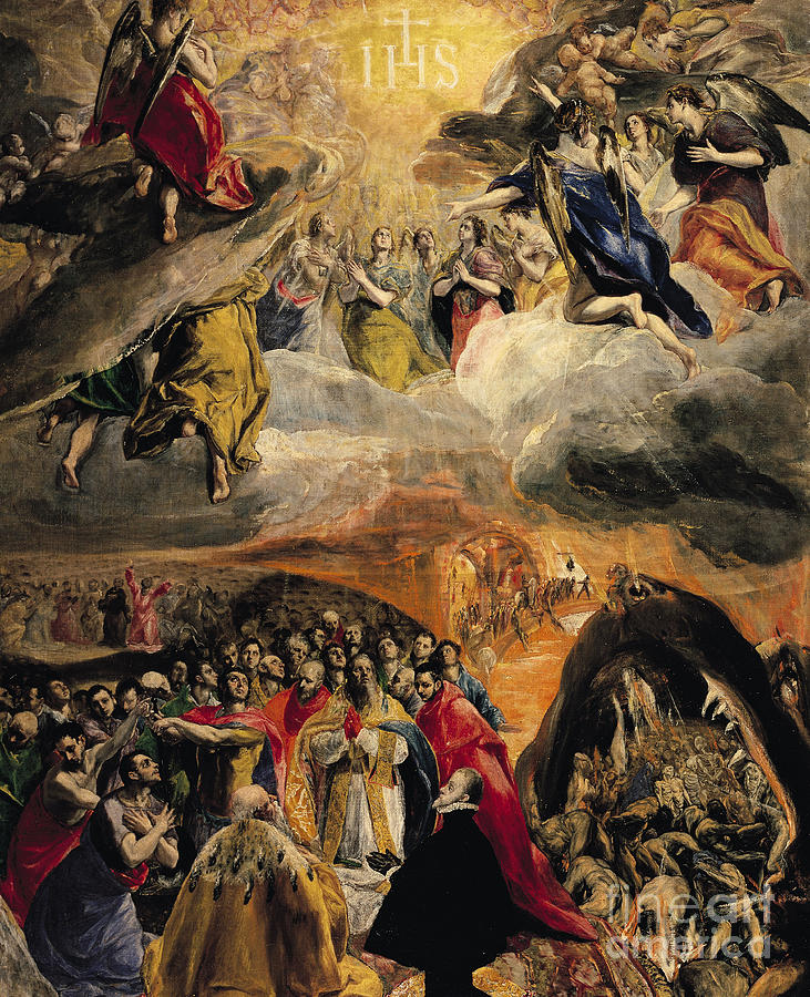 Doge Of Venice; Pope; Last Judgement; Saved Souls; Angels; Three Allies; Ihs; Dream Of Philip Painting - The Adoration Of The Name Of Jesus by El Greco Domenico Theotocopuli