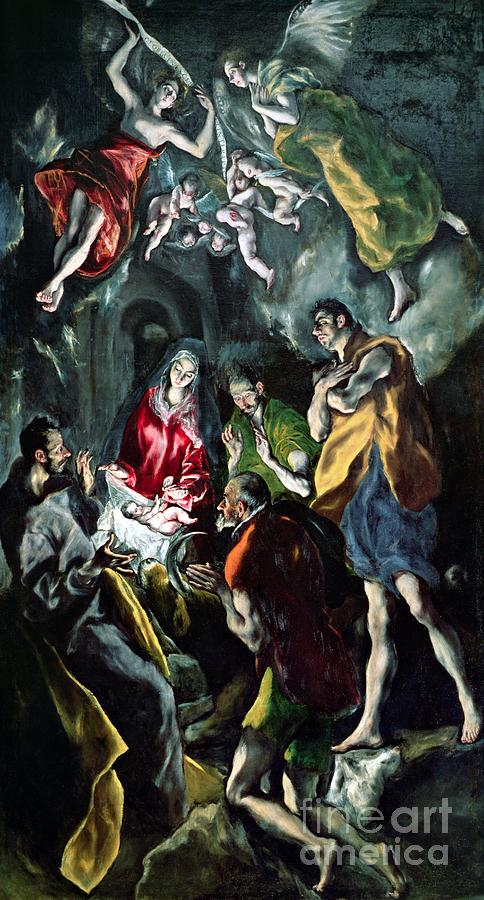 The Adoration Of The Shepherds From The Santo Domingo El Antiguo Altarpiece Painting by El Greco Domenico Theotocopuli