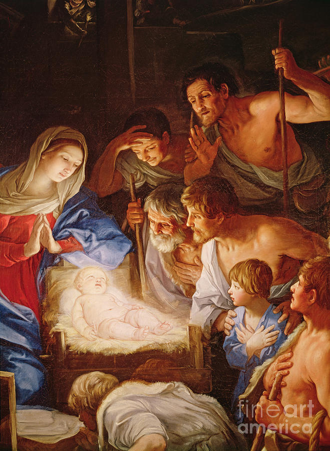 Infant Christ Painting - The Adoration Of The Shepherds by Guido Reni