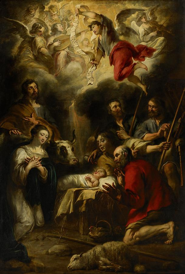 Christmas Cards Painting - The Adoration Of The Shepherds by Jan Cossiers