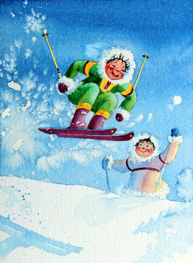 Kids Art For Ski Chalet Painting - The Aerial Skier - 10 by Hanne Lore Koehler