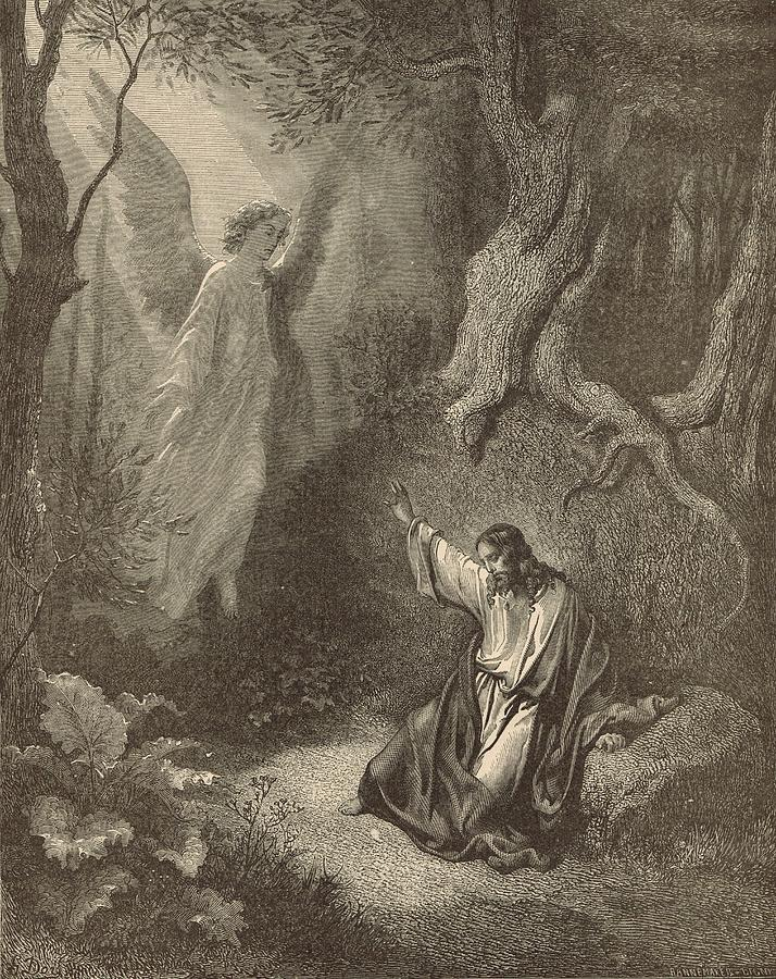 Biblical Drawing - The Agony In The Garden by Antique Engravings