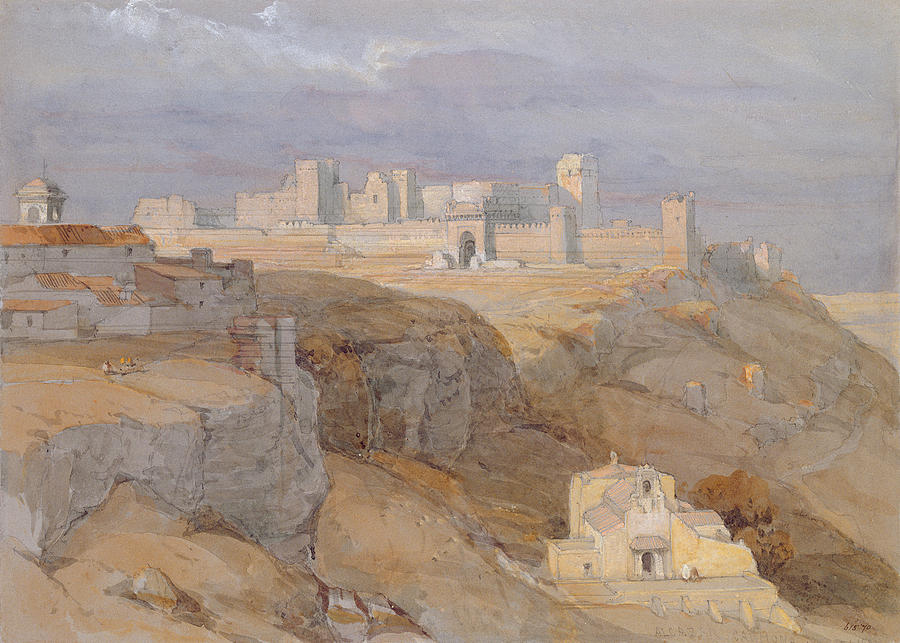 Castle Drawing - The Alcazar Of Carmona, Andalucia by David Roberts