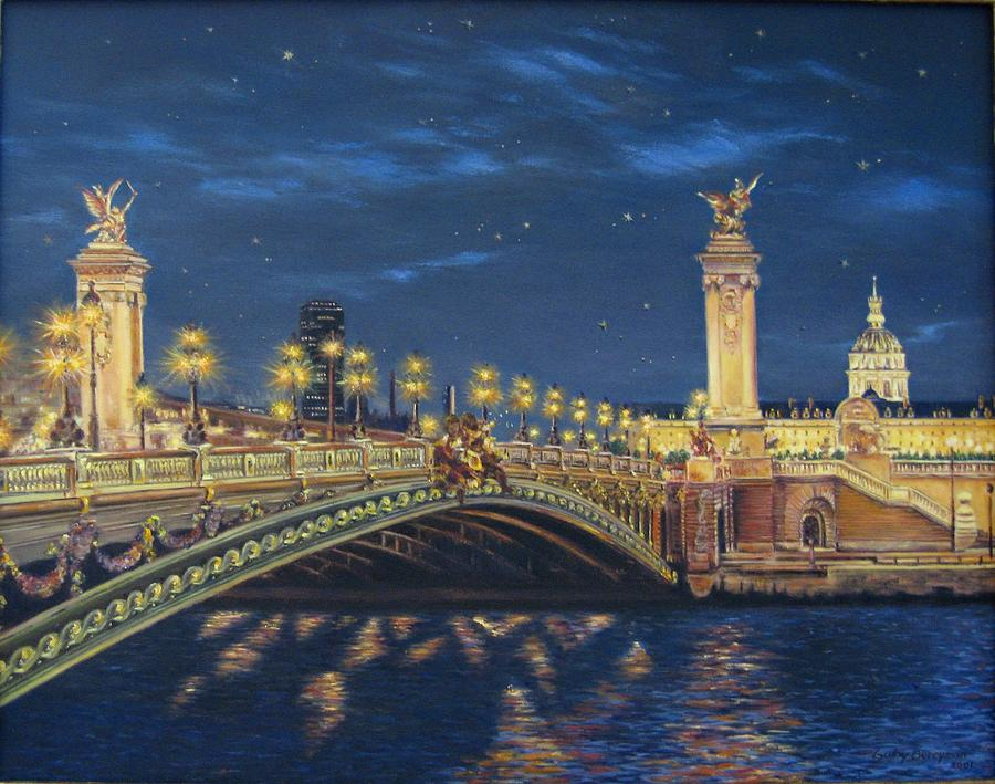 The Alexander 3rd Bridge By Night Painting by Gulay Berryman