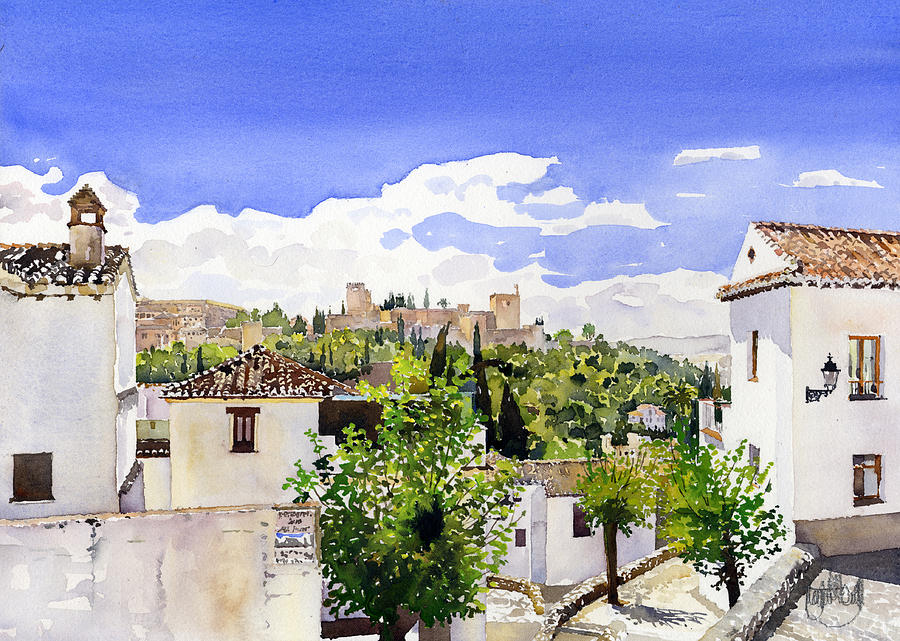 Watercolor Painting - The Alhambra From The Albaicin by Margaret Merry