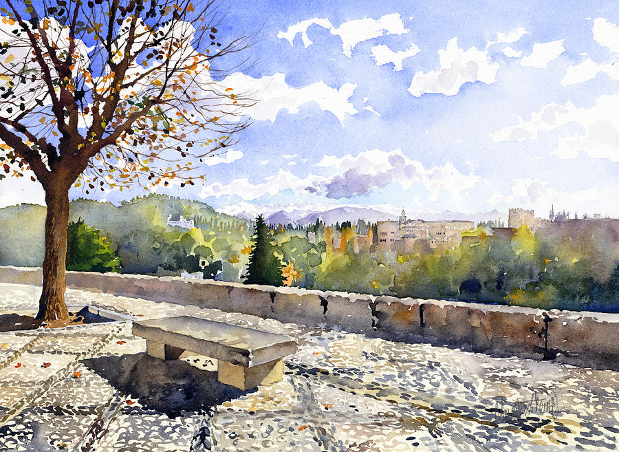 Watercolour Painting - The Alhambra In Autumn by Margaret Merry