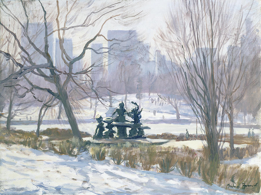 Central Park Painting - The Alice In Wonderland Statue, Central Park, New York by Julian Barrow