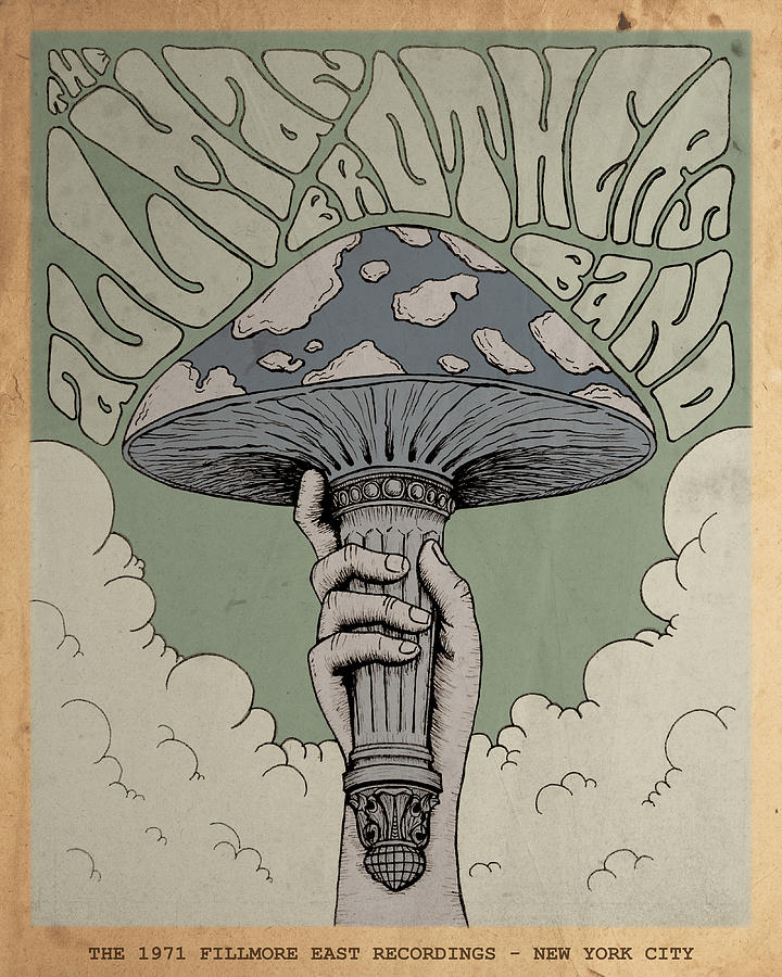 Poster Drawing - The Allman Brothers Band - Fillmore East by Geraldinez