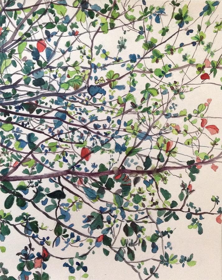 Trees Painting - The Almond Tree by Aditi Bhatt