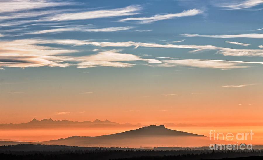 Sunset Photograph - The Alps Sunset Over Fog by Bernd Laeschke