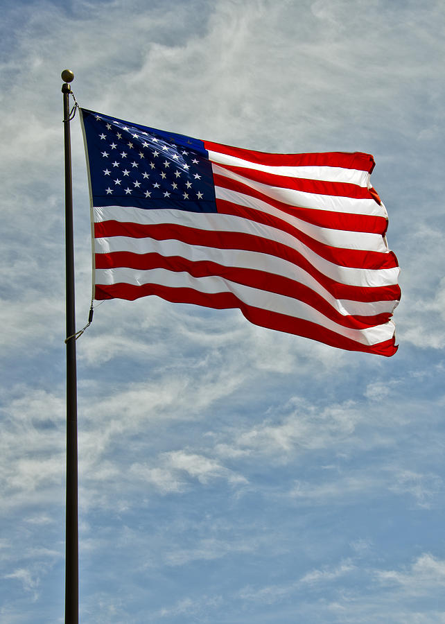 The American Flag Waving In The Wind Photograph by LeeAnn ...