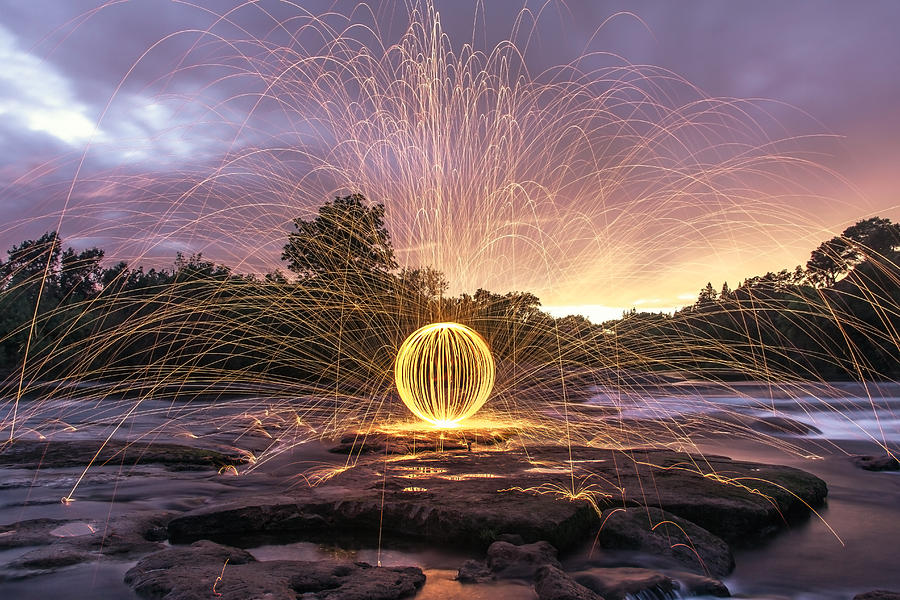 Steel Wool Photograph - The American River Orb by Lee Harland