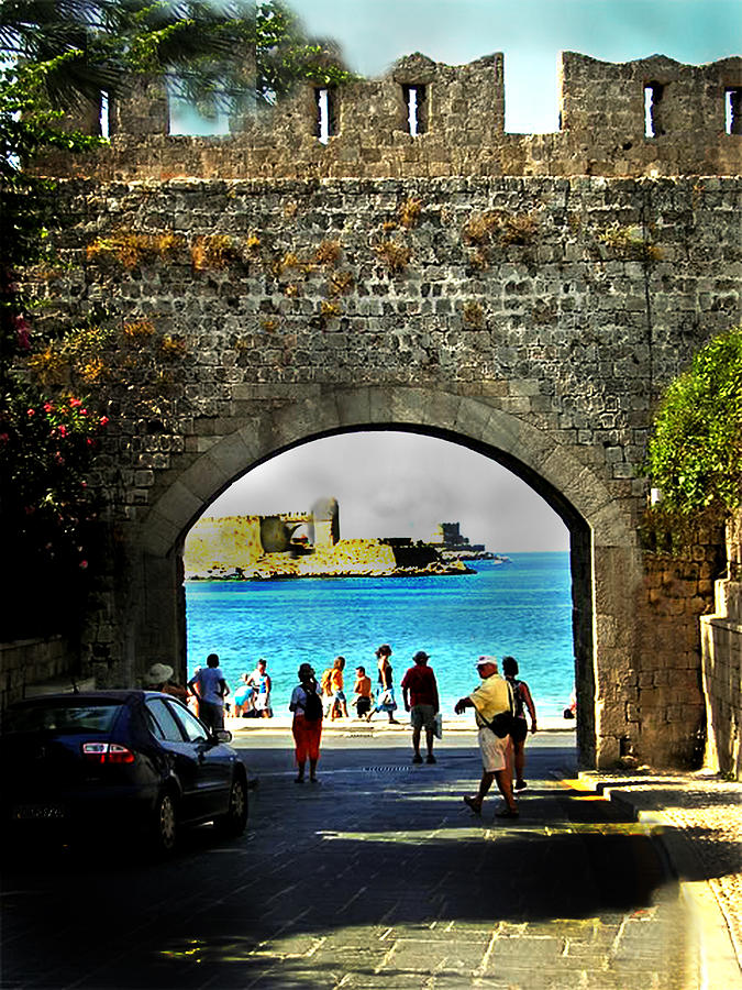 Seascape Photography Canvas Prints Photograph - The Ancient City Of Rhodes by Judy Paleologos