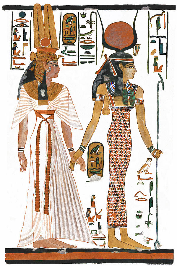 Ancient Egyptian Goddess Painting - The Ancient Egyptian Goddess Isis Leading Queen Nefertari by Ben  Morales-Correa
