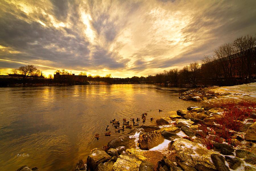 Auburn Photograph - The Androscoggin River Between Lewiston And Auburn by Bob Orsillo
