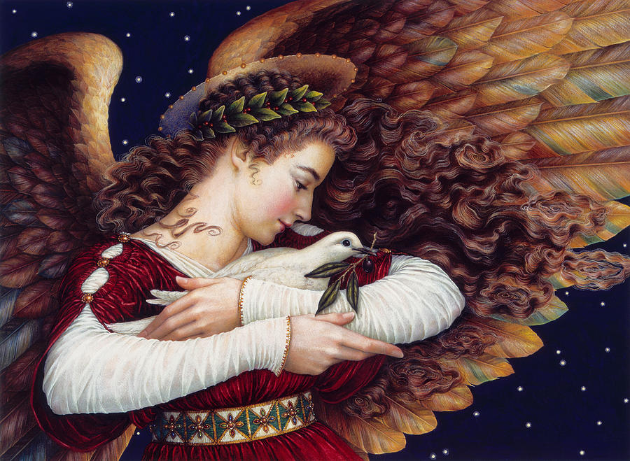 Angel Painting - The Angel And The Dove by Lynn Bywaters