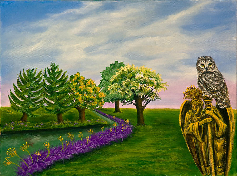 Fantasy Landscape Painting - The Angel And The Owl by Susan Culver