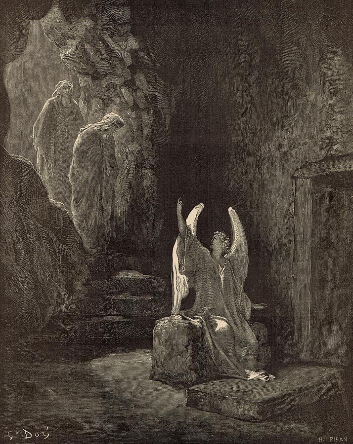 Biblical Drawing - The Angel At The Sepulchre by Antique Engravings