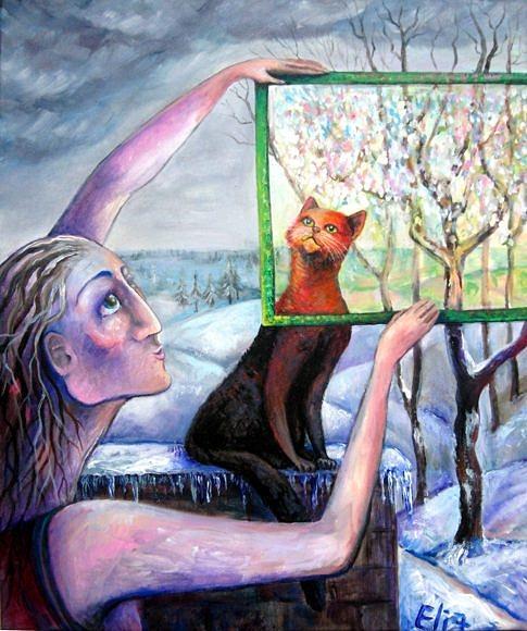 Hope Painting - The Angel Of February by Elisheva Nesis