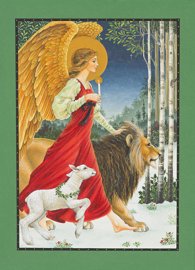 The Angel The Lion And The Lamb Painting by Lynn Bywaters