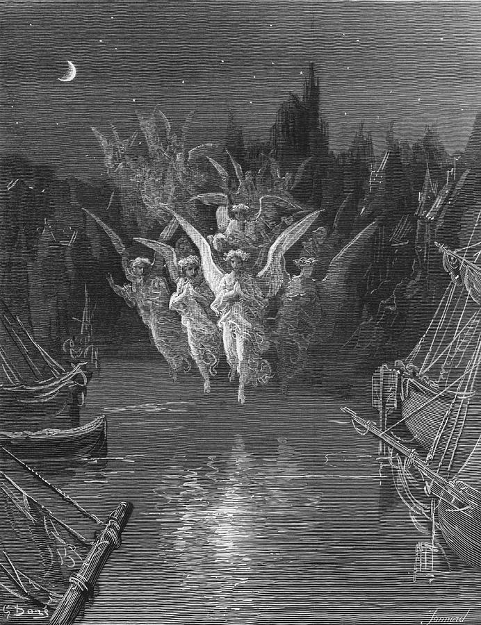 Angels; Ship; Vessel; Sailors; Colours; Dore Drawing - The Angelic Spirits Leave The Dead Bodies And Appear In Their Own Forms Of Light by Gustave Dore