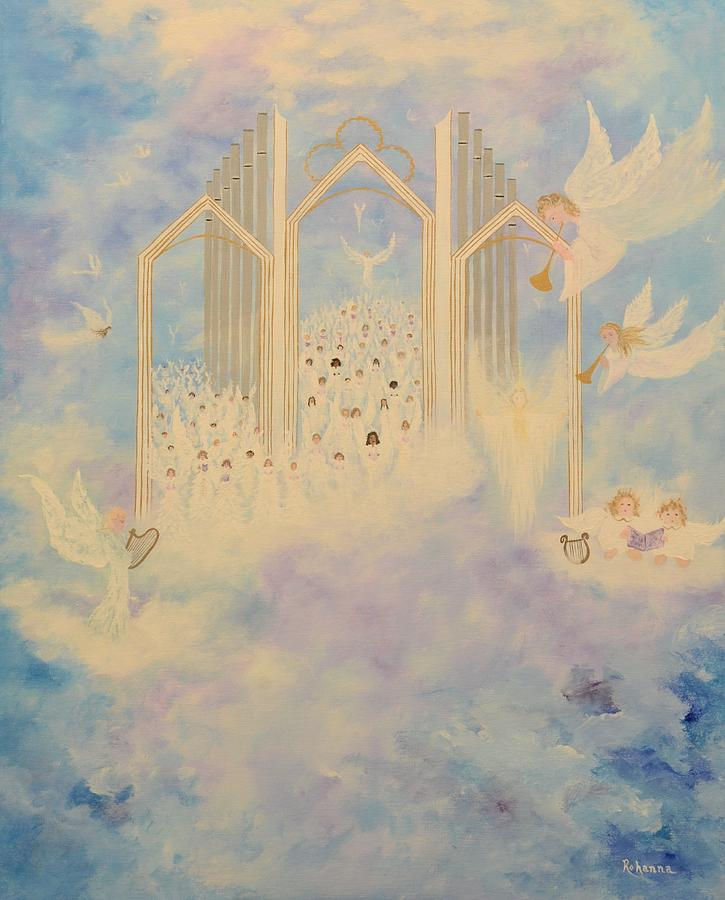 Angels Painting - The Angels Choir A Celebration by Judy M Watts-Rohanna