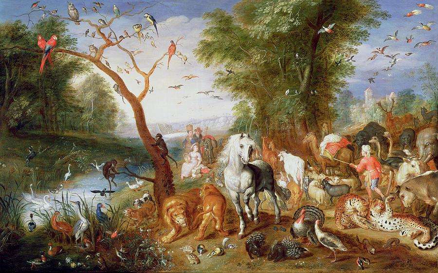 Landscape Photograph - The Animals Entering Noahs Ark Panel by Jan van the Younger Kessel
