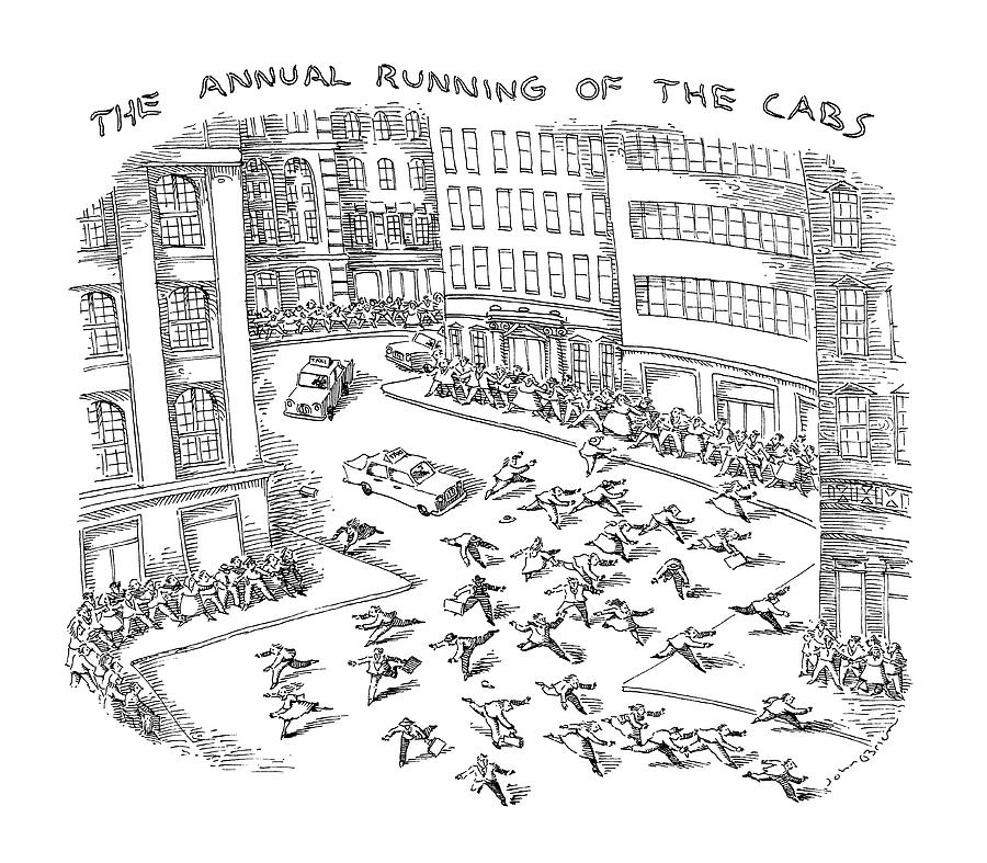 The Annual Running Of The Cabs Drawing by John OBrien